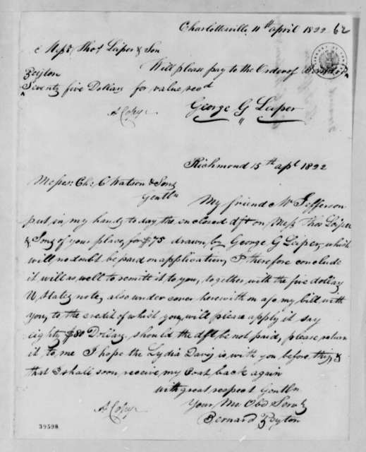 George G. Leiper to Thomas Leiper & Son, April 11, 1822, Payment