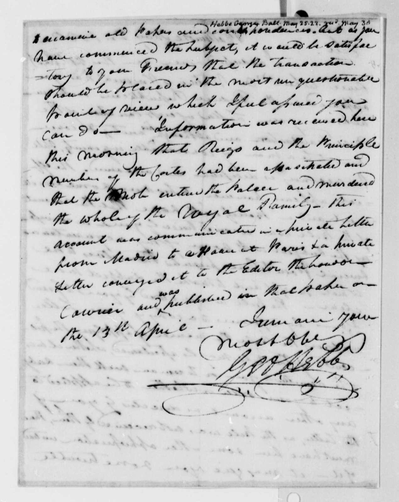 George Hebb to Thomas Jefferson, May 25, 1822
