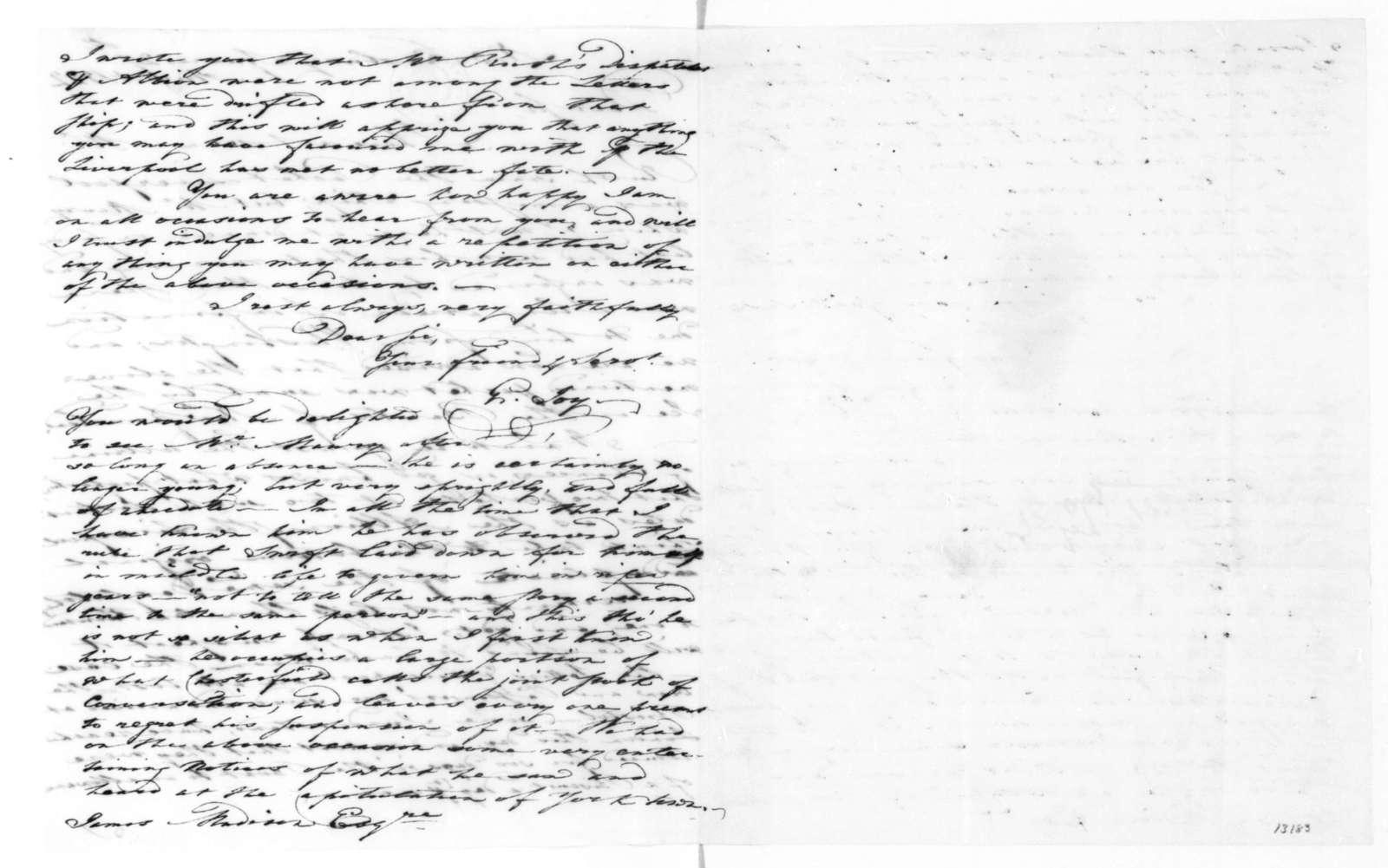 George Joy to James Madison, August 27, 1822.