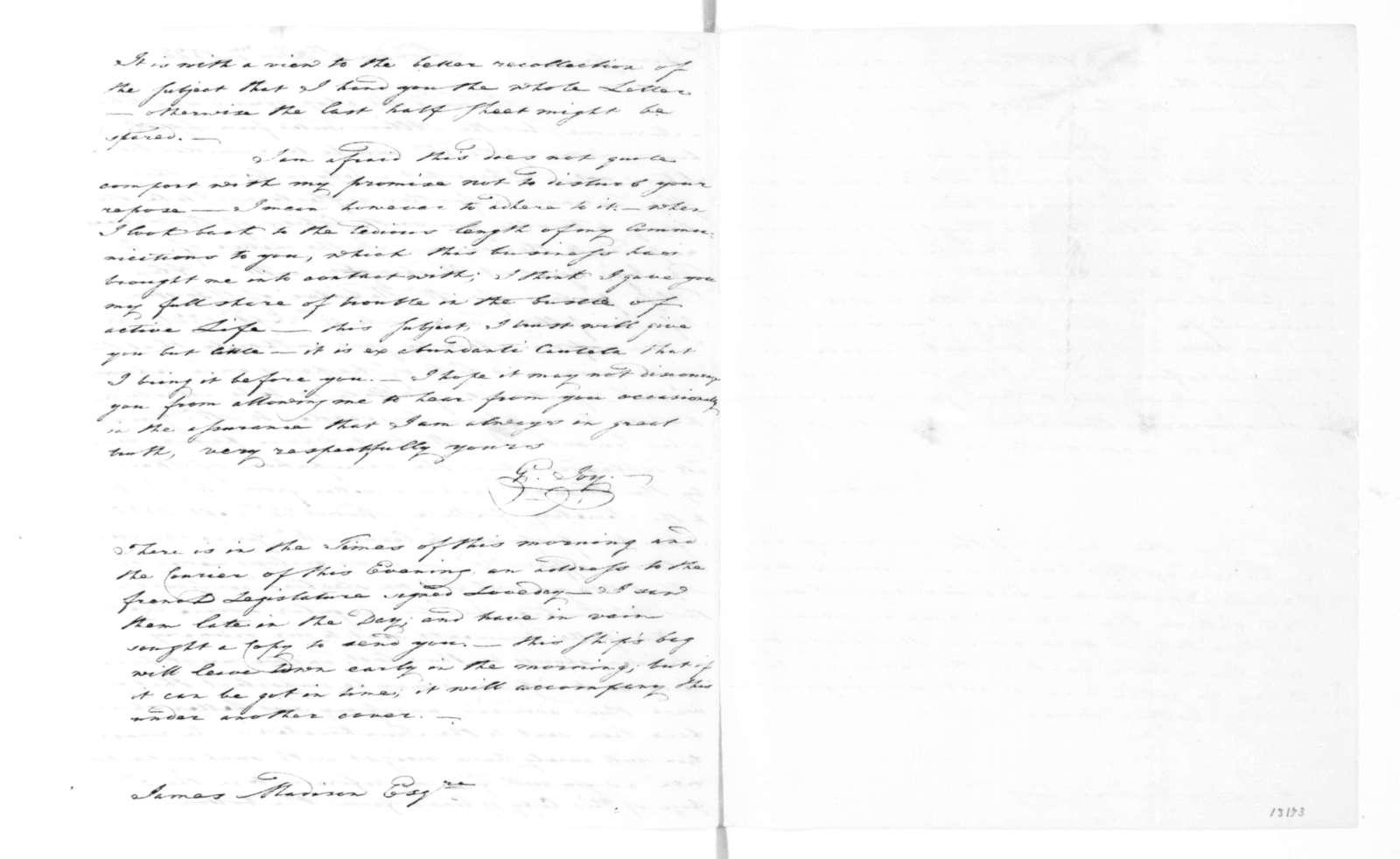 George Joy to James Madison, January 9, 1822.