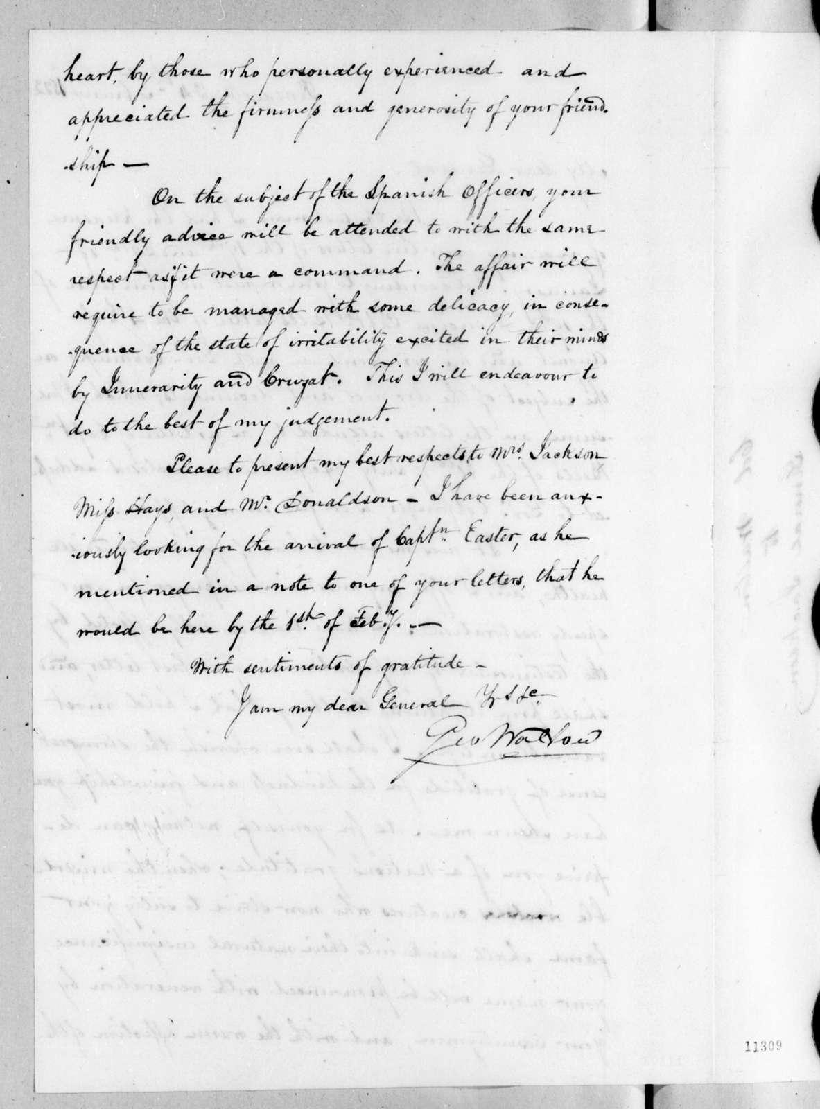 George Walton to Andrew Jackson, February 24, 1822