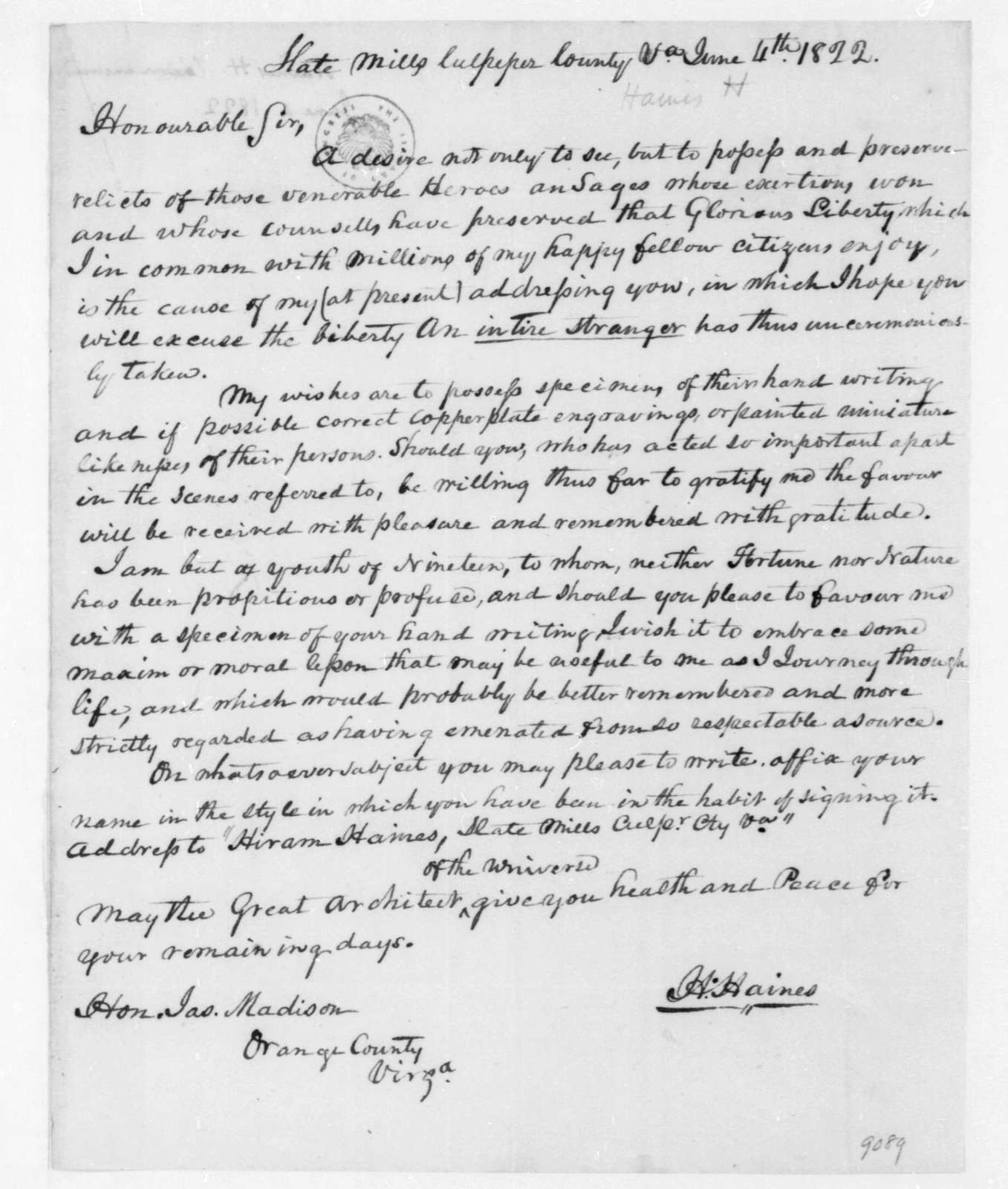 H. Haines to James Madison, June 4, 1822.