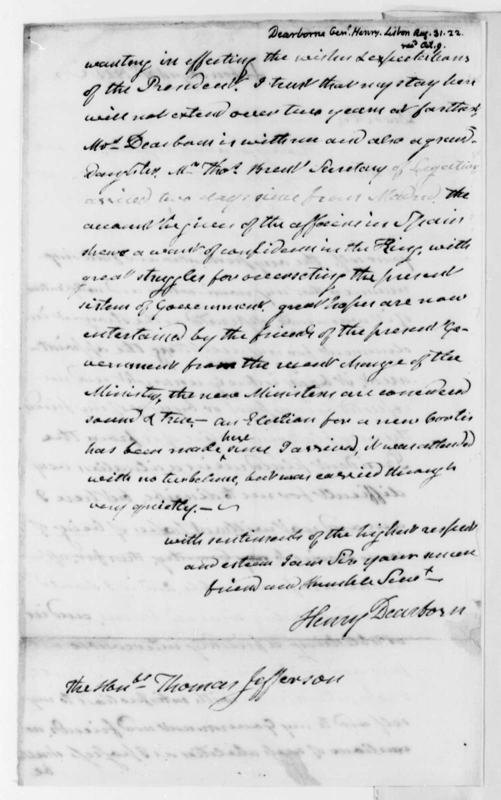 Henry Dearborn to Thomas Jefferson, August 31, 1822