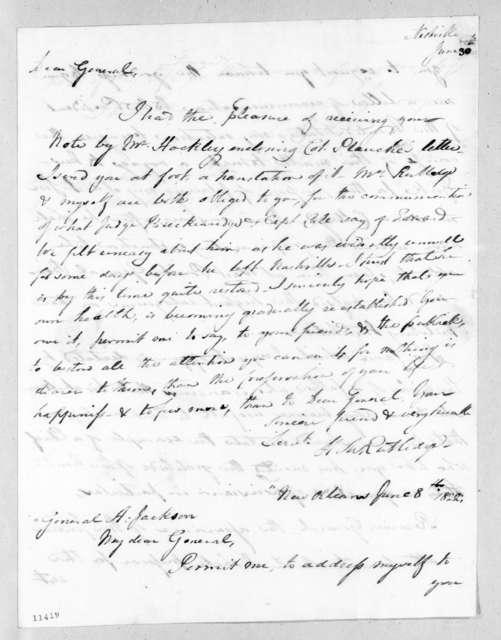 Henry Middleton Rutledge to Andrew Jackson, June 30, 1822