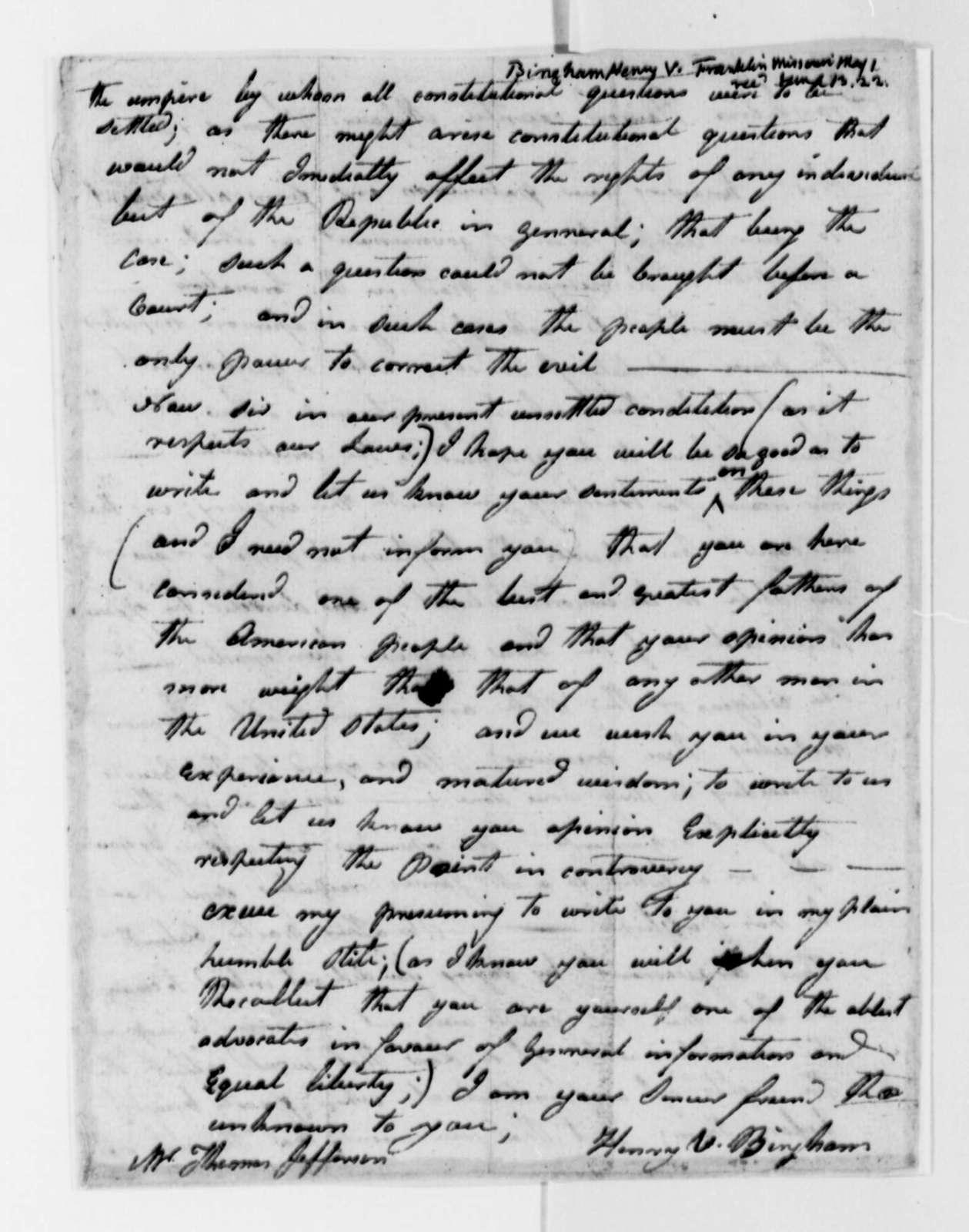 Henry V. Bingham to Thomas Jefferson, May 1, 1822