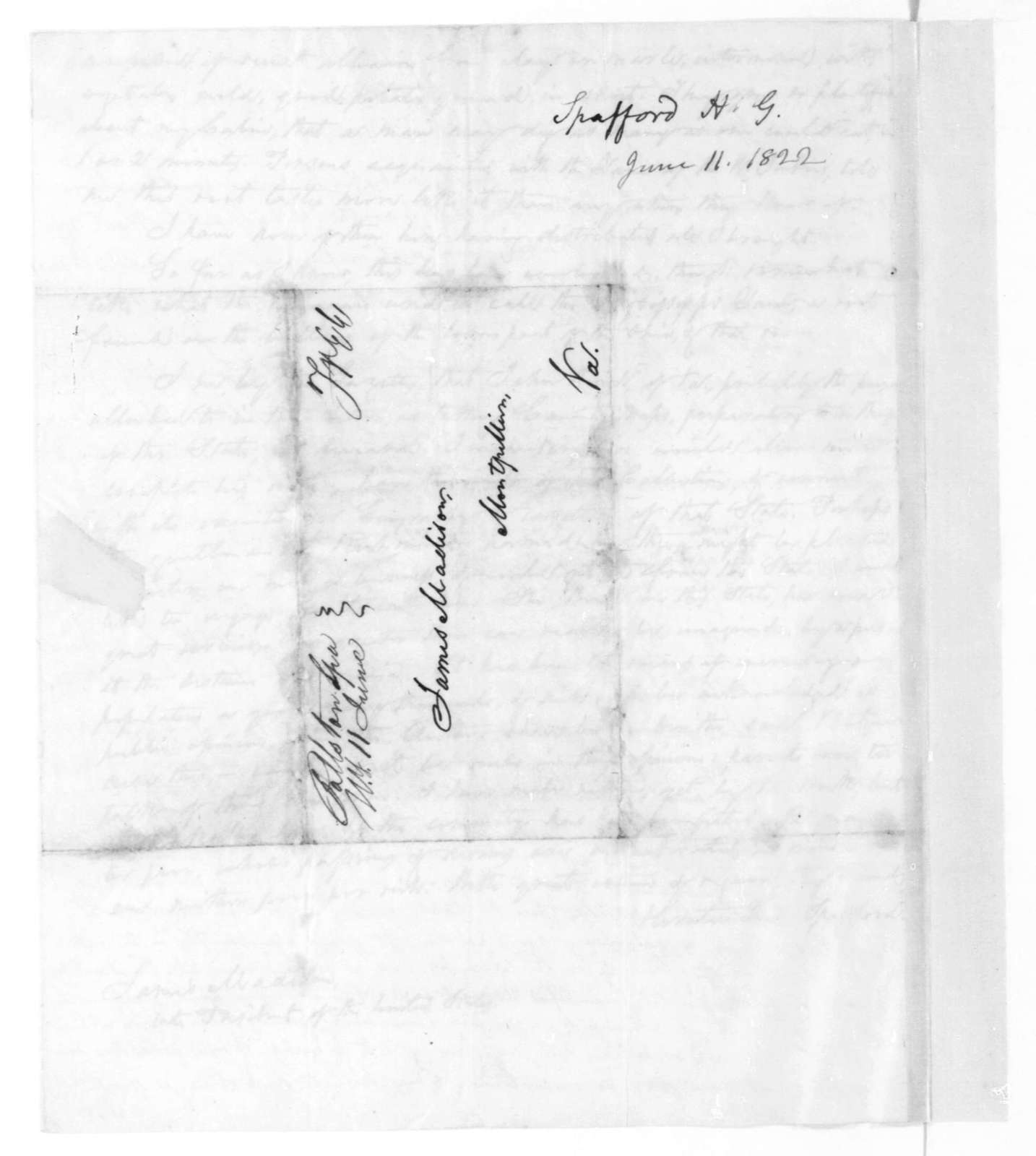 Horatio Gates Spafford to James Madison, June 11, 1822.
