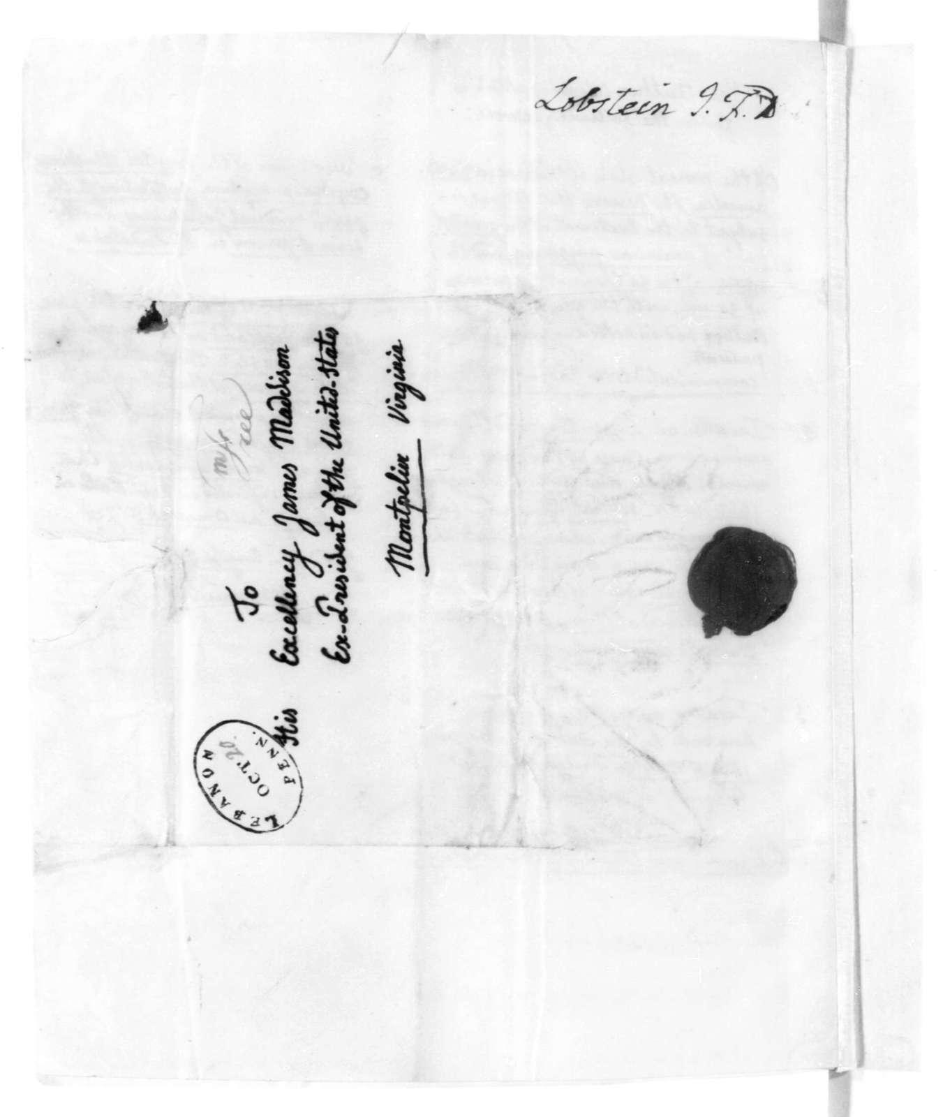 J. F. Daniel Lobstein to James Madison, October 19, 1822. & Observations on US.
