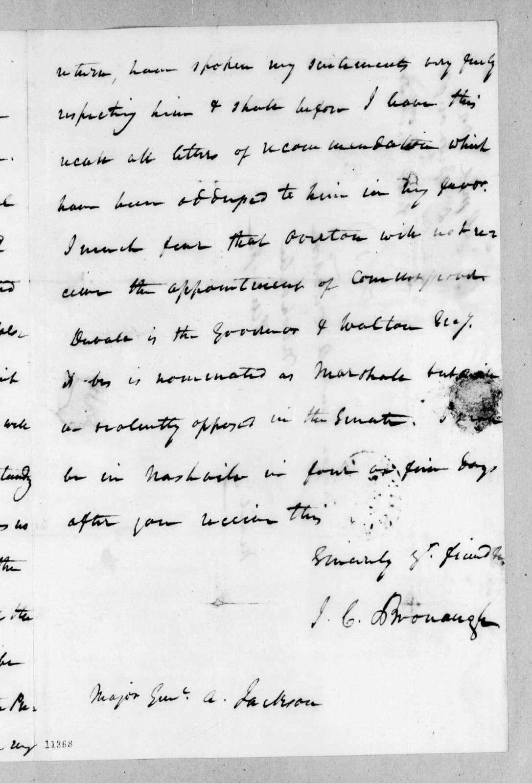 James Craine Bronaugh to Andrew Jackson, April 16, 1822