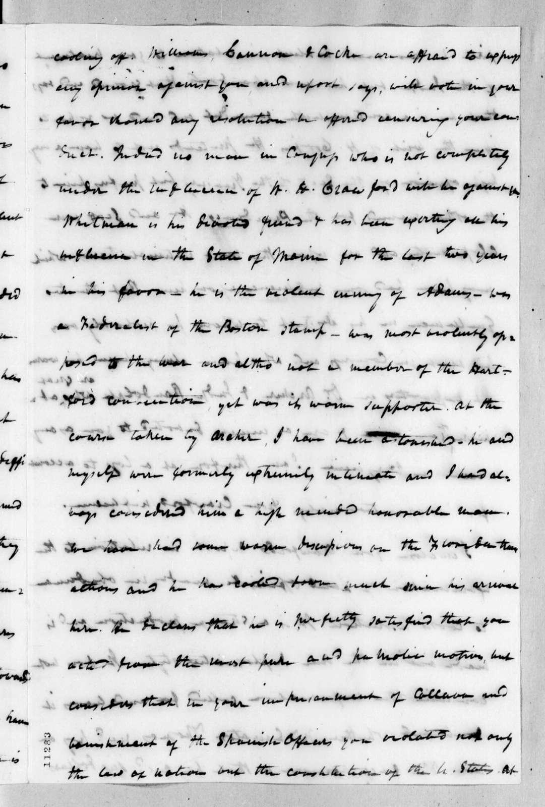 James Craine Bronaugh to Andrew Jackson, February 8, 1822