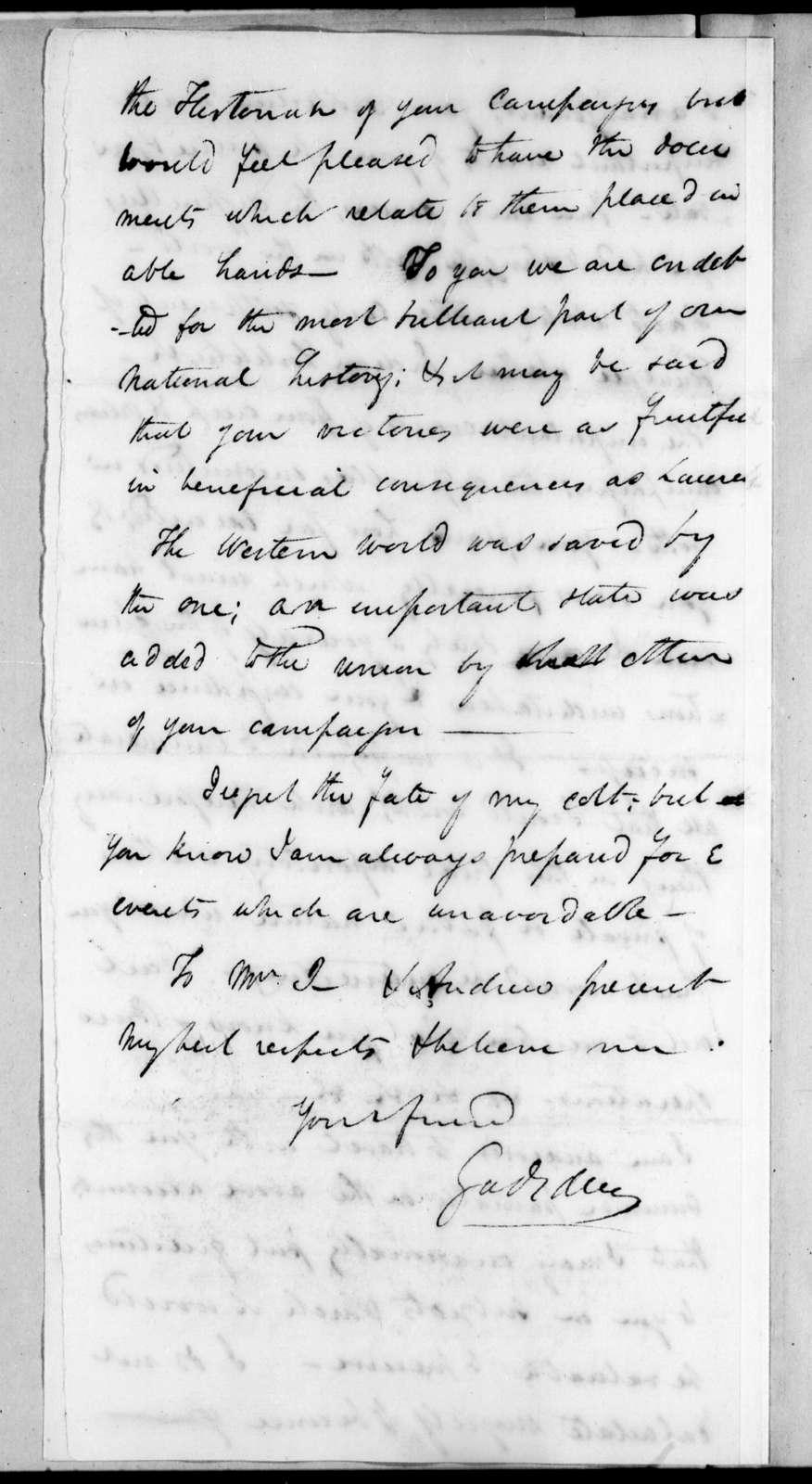 James Gadsden to Andrew Jackson, April 13, 1822