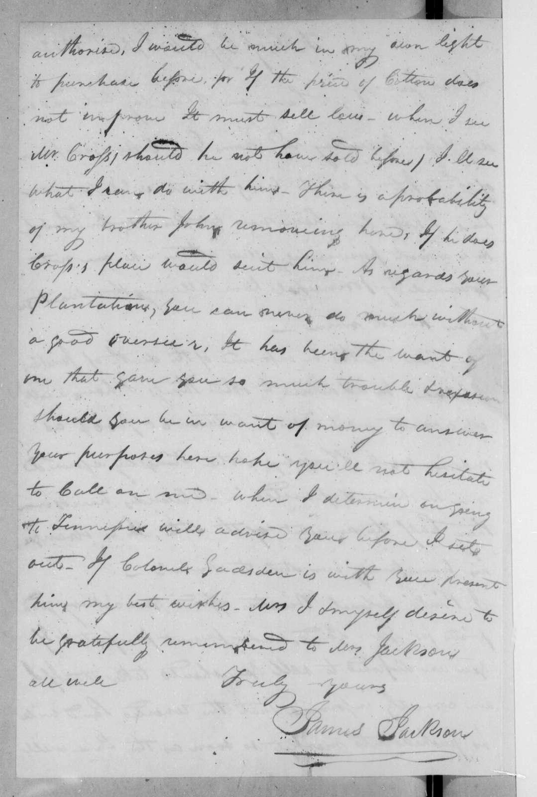 James Jackson to Andrew Jackson, September 30, 1822