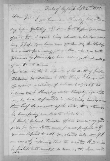 James Jackson to Andrew Jackson, September 30, 1822