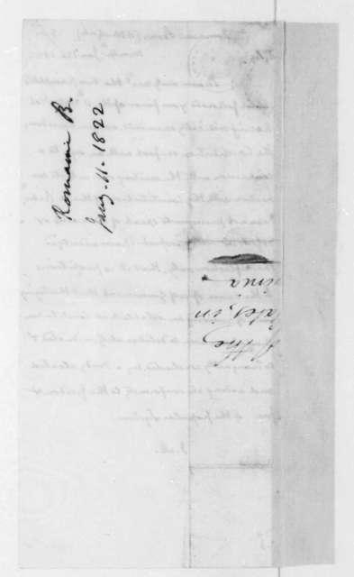 James Madison to B. Romaine, January 26, 1822.
