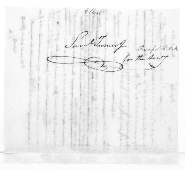 James Madison to Benjamin Joy, March 18, 1822. On verso addressed to Samuel Turner, Jr.