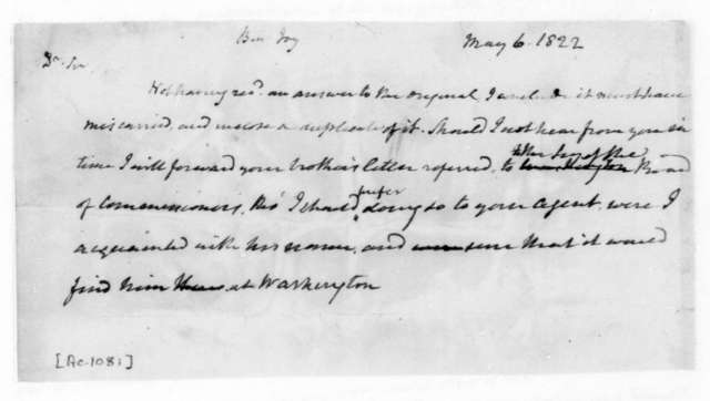 James Madison to Benjamin Joy, May 6, 1822.