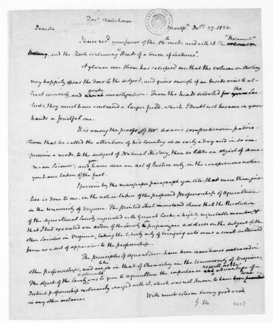James Madison to Benjamin Waterhouse, December 27, 1822.