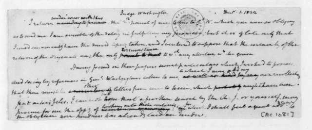 James Madison to Bushrod Washington, December 1, 1822.
