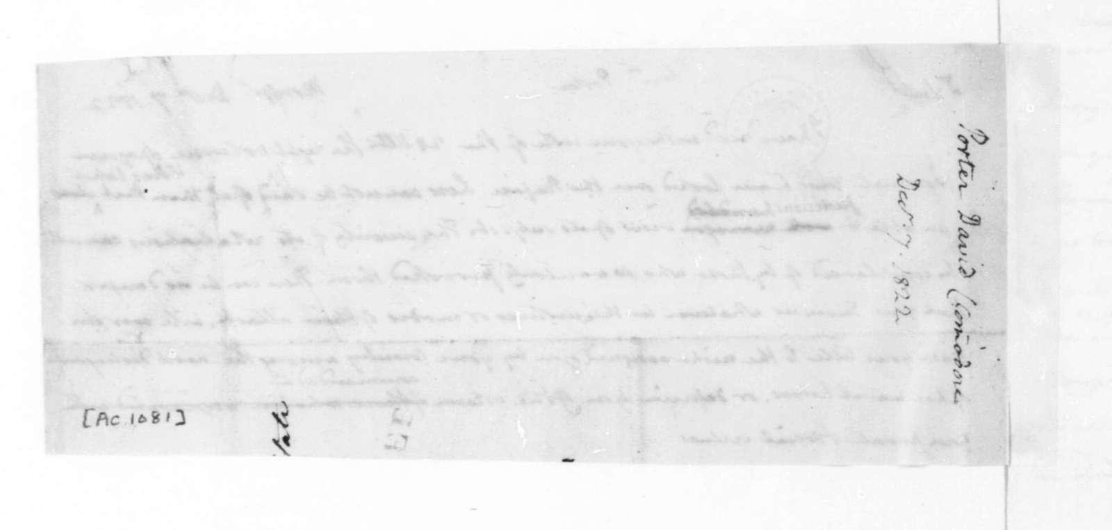 James Madison to David Porter, December 7, 1822.