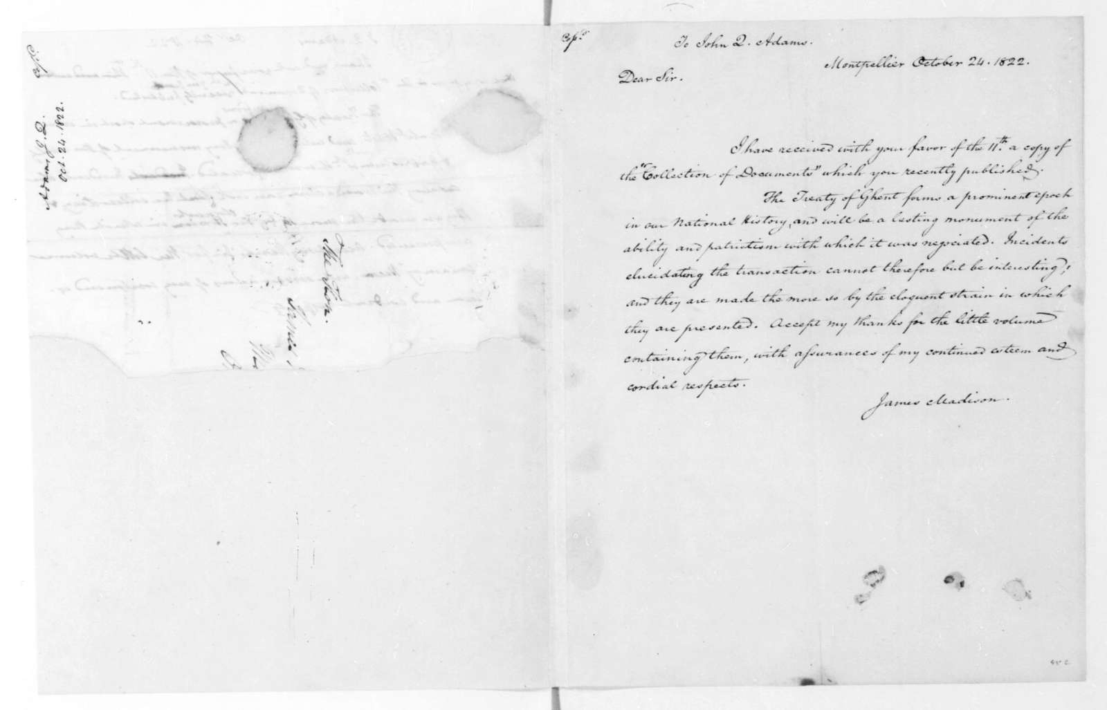 James Madison to John Quincy Adams, October 24, 1822. With Copy.