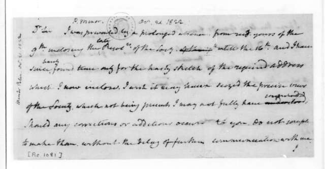 James Madison to Peter Minor, October 21, 1822.