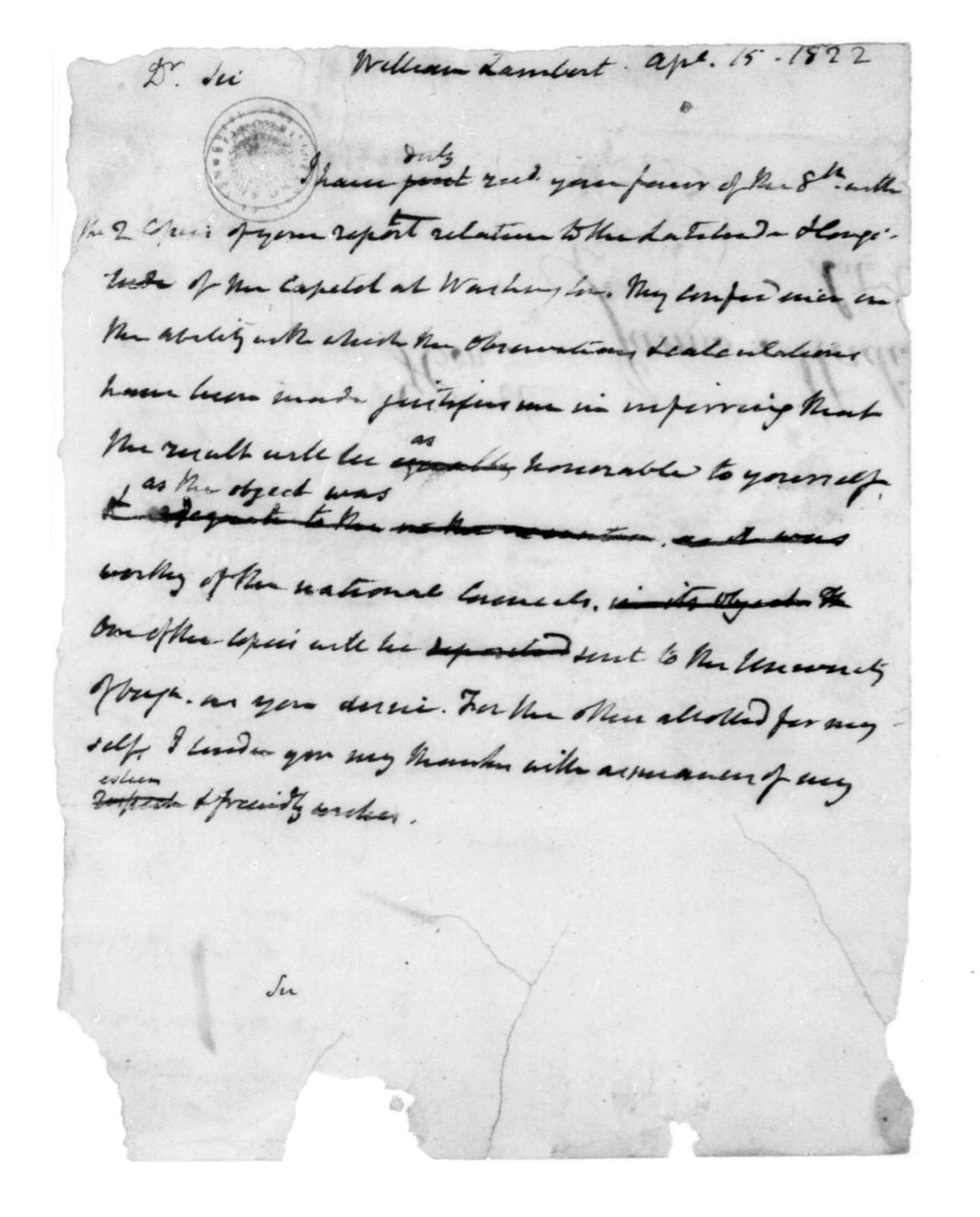 James Madison to William Lambert, April 15, 1822.