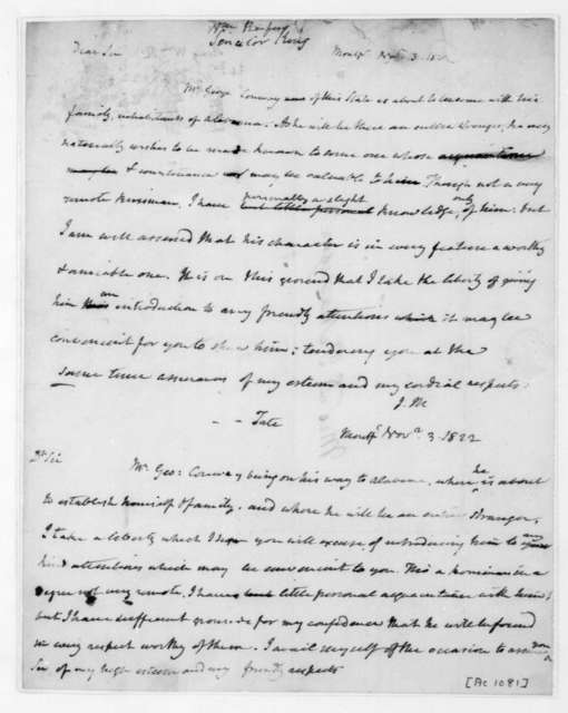 James Madison to William Rufus King, November 3, 1822. Includes note to Tate dated Nov. 3, 1822.