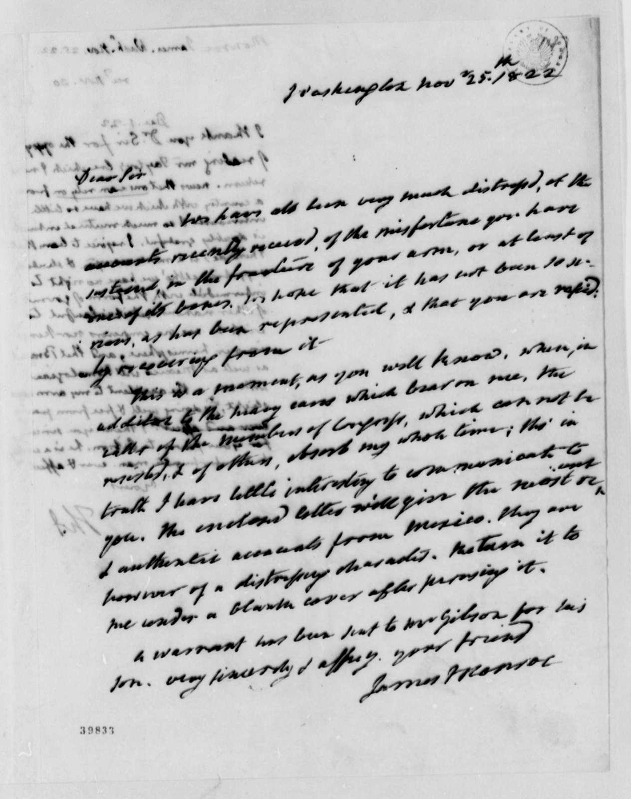 James Monroe to Thomas Jefferson, November 25, 1822