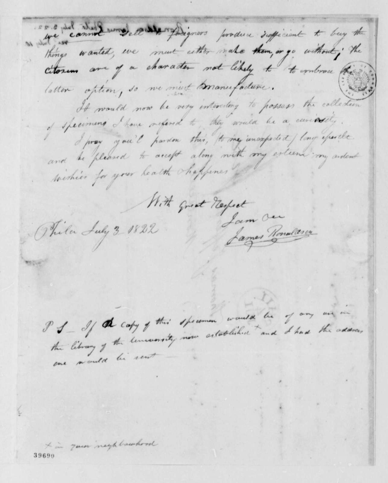 James Ronaldson to Thomas Jefferson, July 3, 1822