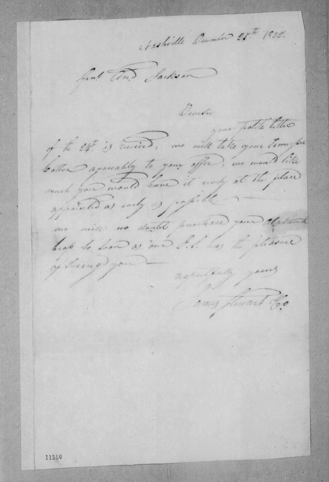 James Stewart & Co. to Andrew Jackson, December 25, 1822