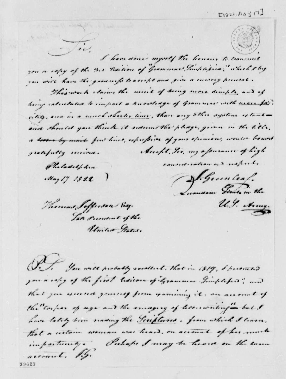Jeremiah Greenleaf to Thomas Jefferson, May 17, 1822