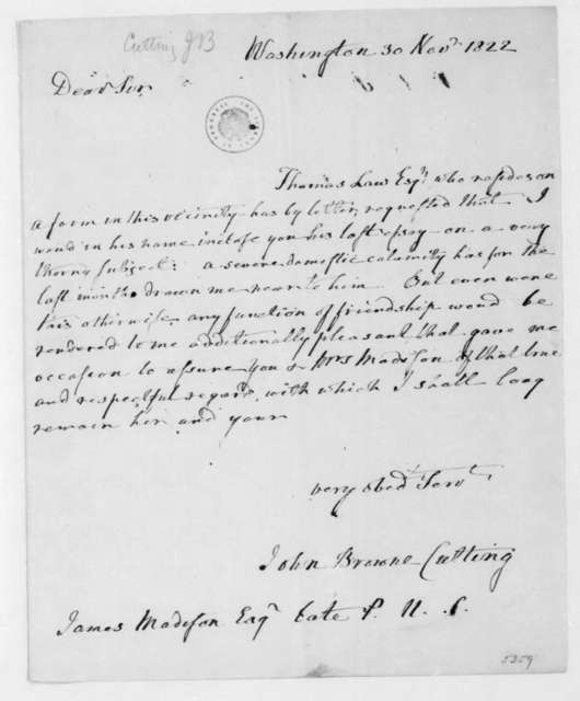 John Browne Cutting to James Madison, November 30, 1822.