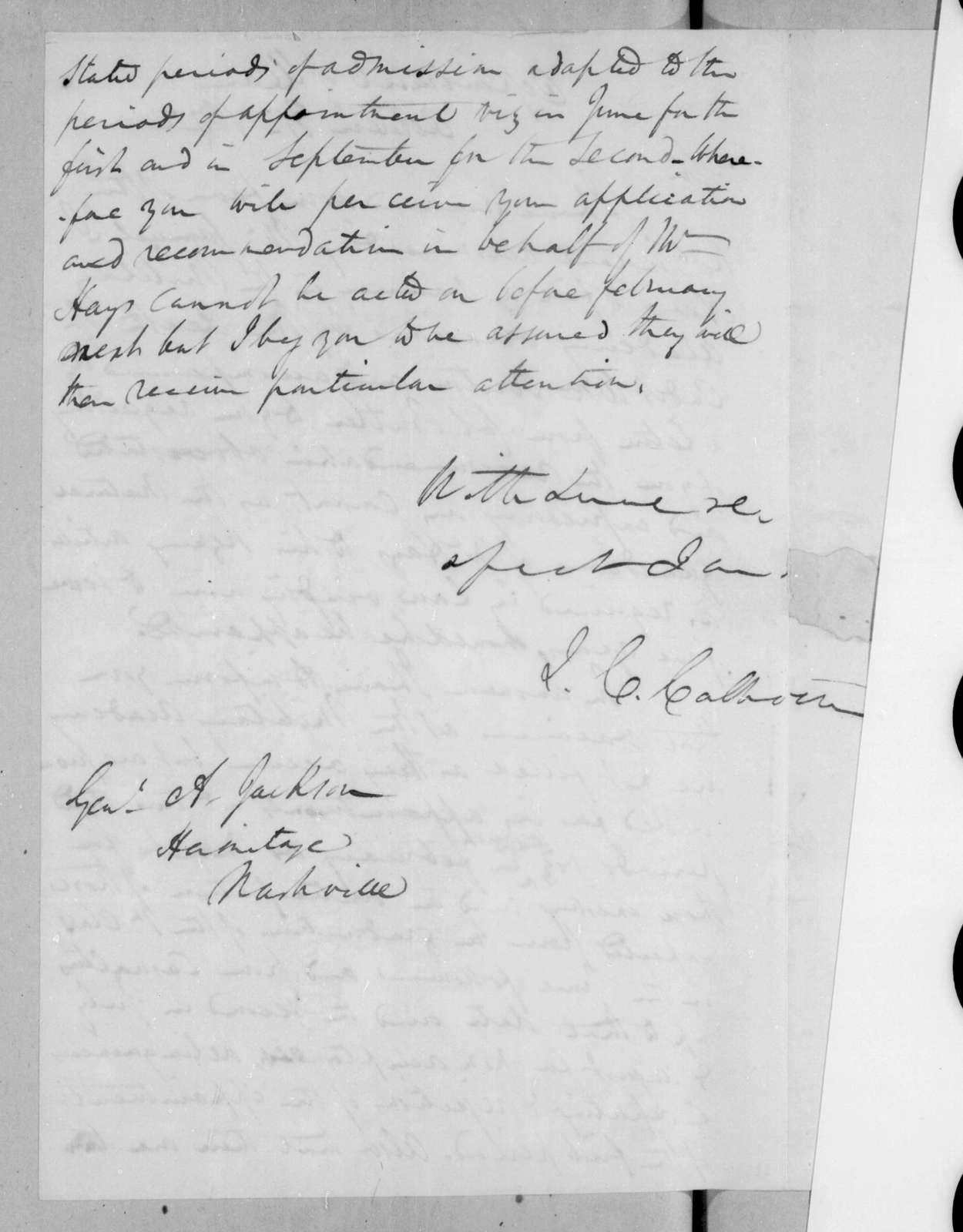 John Caldwell Calhoun to Andrew Jackson, October 31, 1822