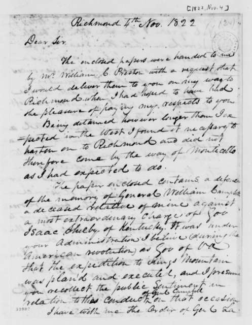 John Campbell to Thomas Jefferson, November 4, 1822, with William Preston Letter Dated September 1 and Newspaper Article