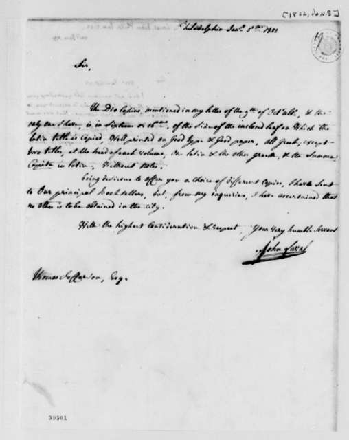 John Laval to Thomas Jefferson, January 5, 1822