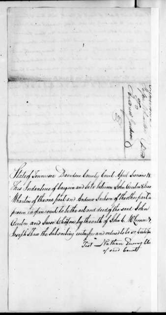 John Waller Overton to Andrew Jackson, April 17, 1822