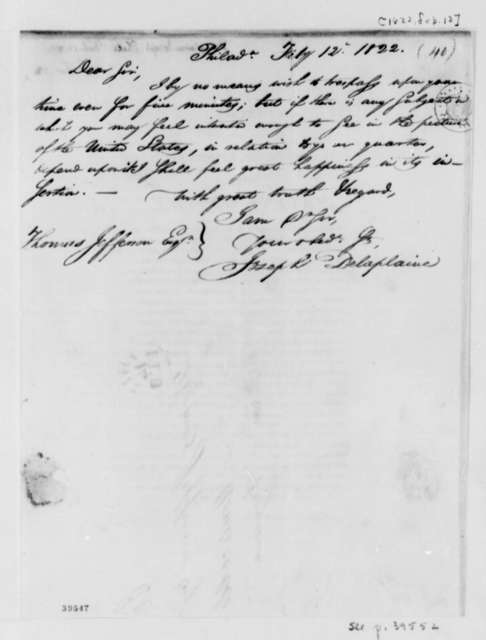 Joseph Delaplaine to Thomas Jefferson, February 12, 1822, with Circular and Copy of Atlas Advertisement