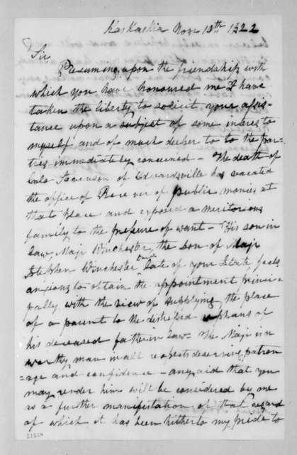 Joseph Philips to Andrew Jackson, November 10, 1822