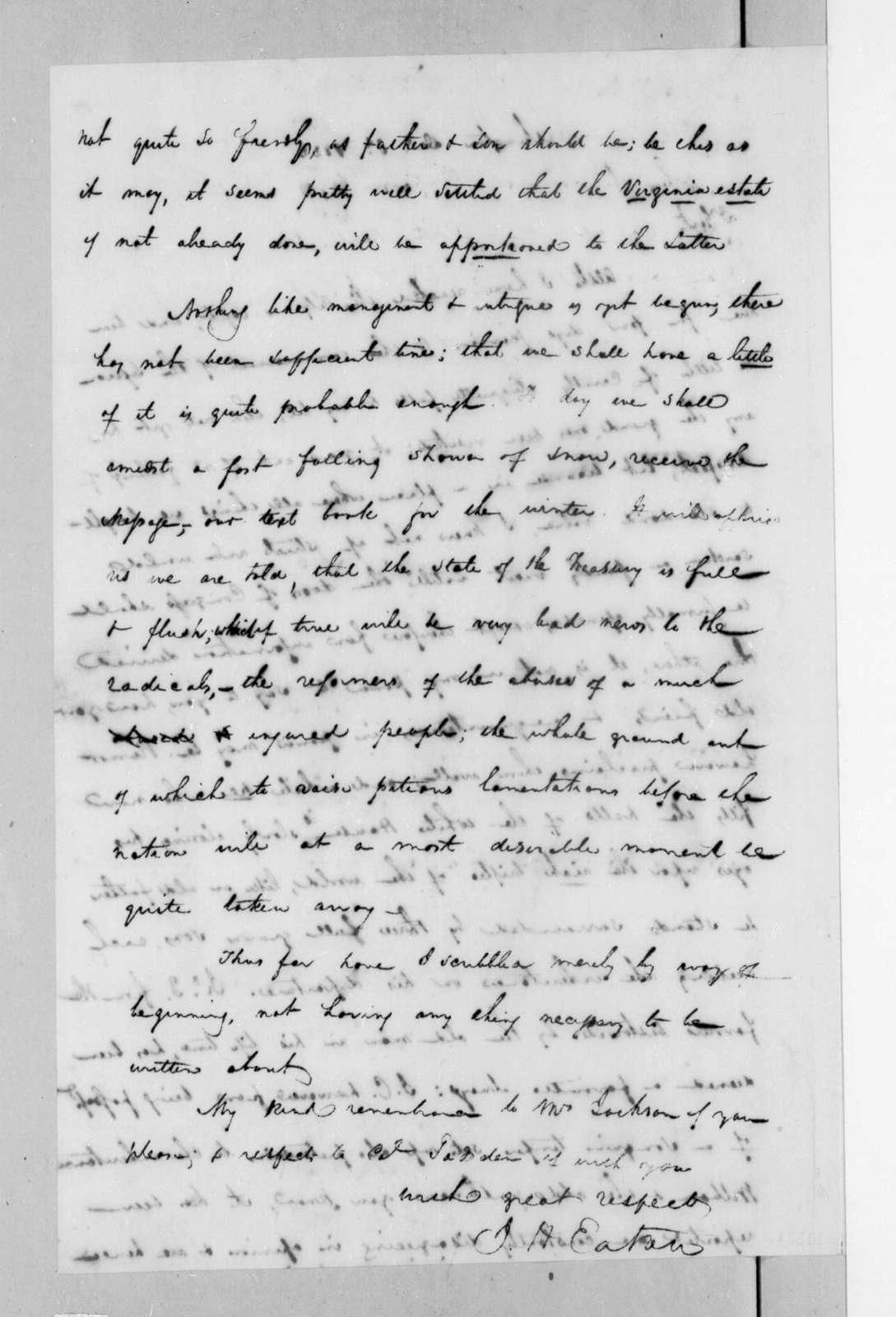 Joseph W. McKean to Andrew Jackson, December 2, 1822