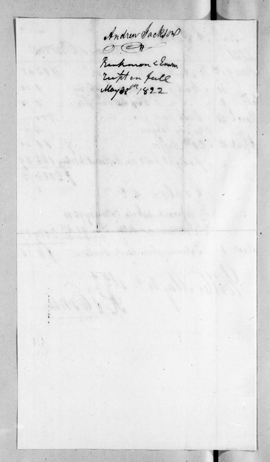 Kinkman & Erwine to Andrew Jackson, May 30, 1822