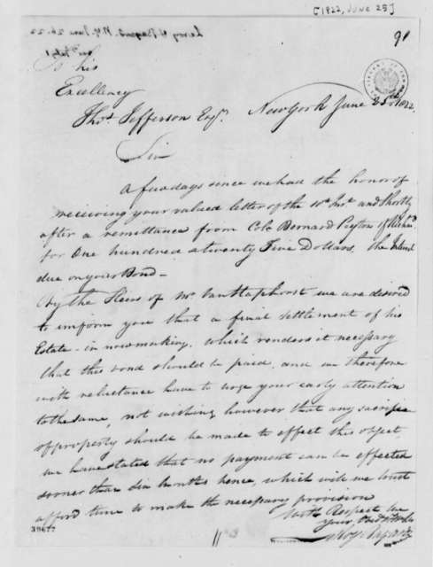 Leroy-Bayard & Company to Thomas Jefferson, June 25, 1822