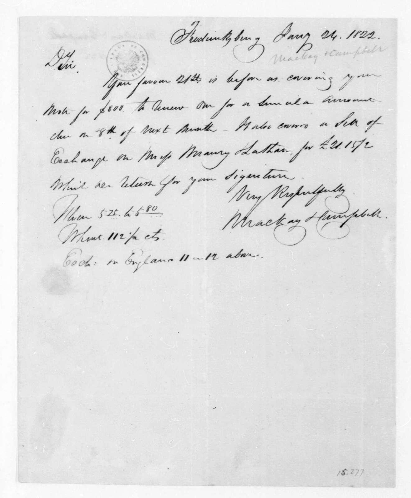 MacKay & Campbell to James Madison, January 24, 1822.