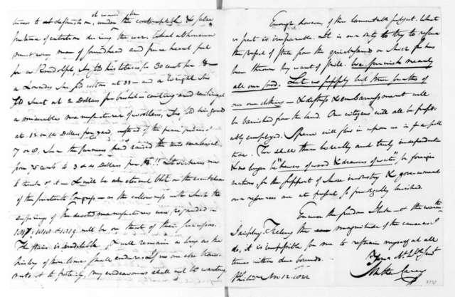 Mathew Carey to James Madison, November 12, 1822.
