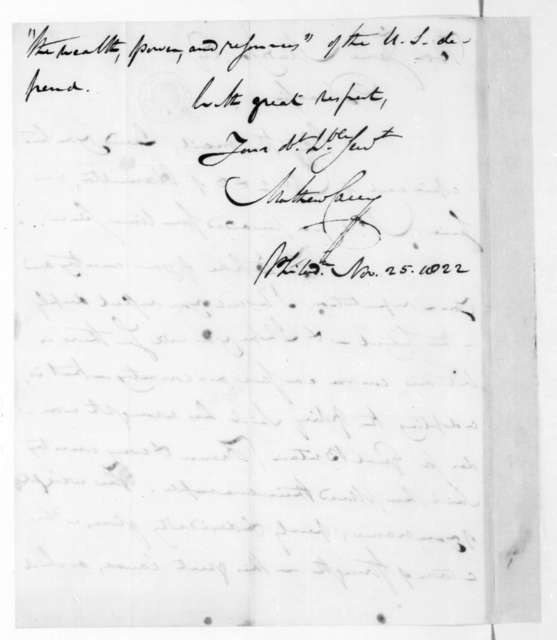 Mathew Carey to James Madison, November 25, 1822.