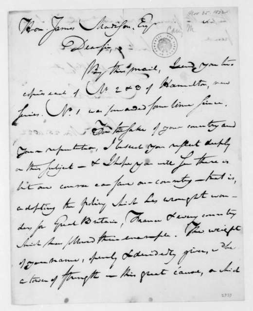 Mathew Carey to James Madison, November 25, 1822.