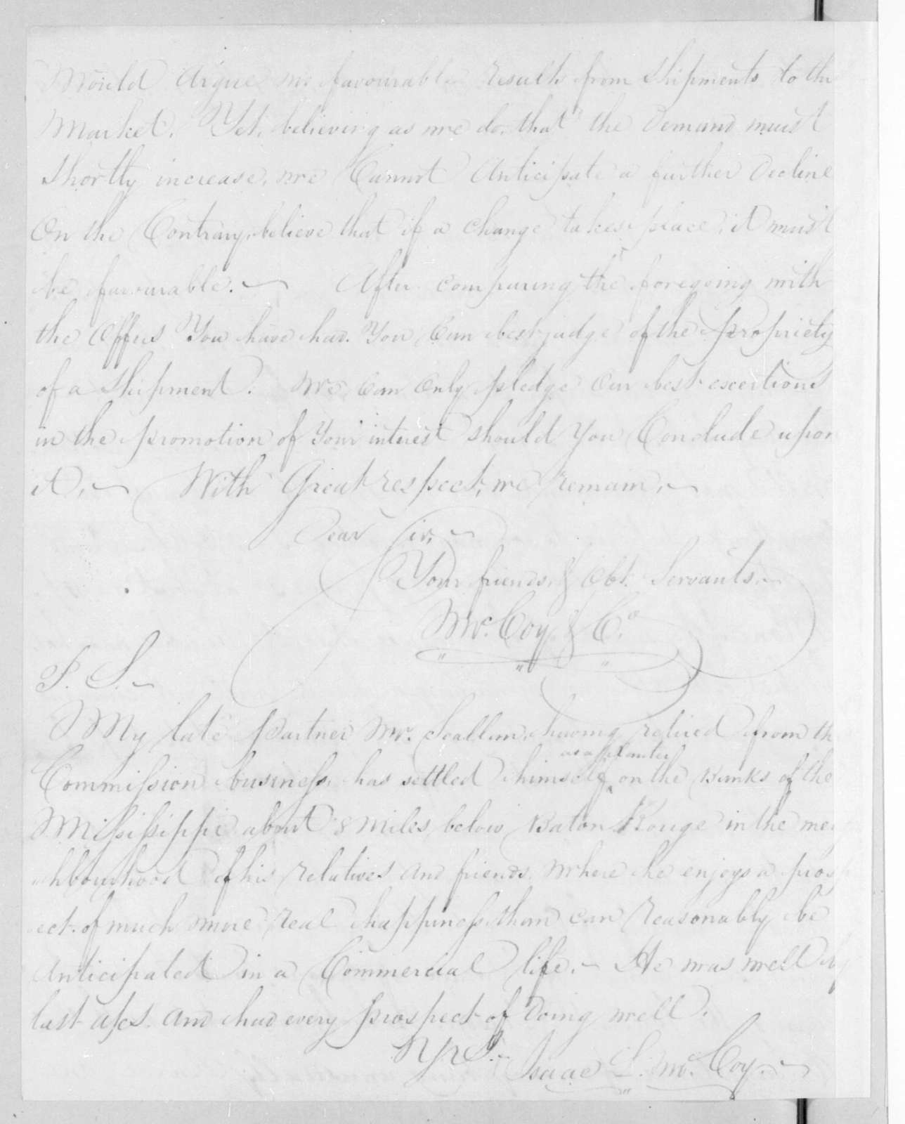 McCoy & Co. to Andrew Jackson, December 13, 1822