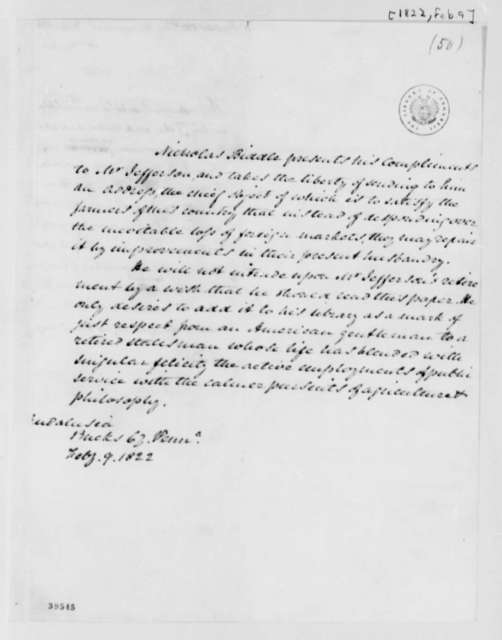 Nicholas Biddle to Thomas Jefferson, February 9, 1822