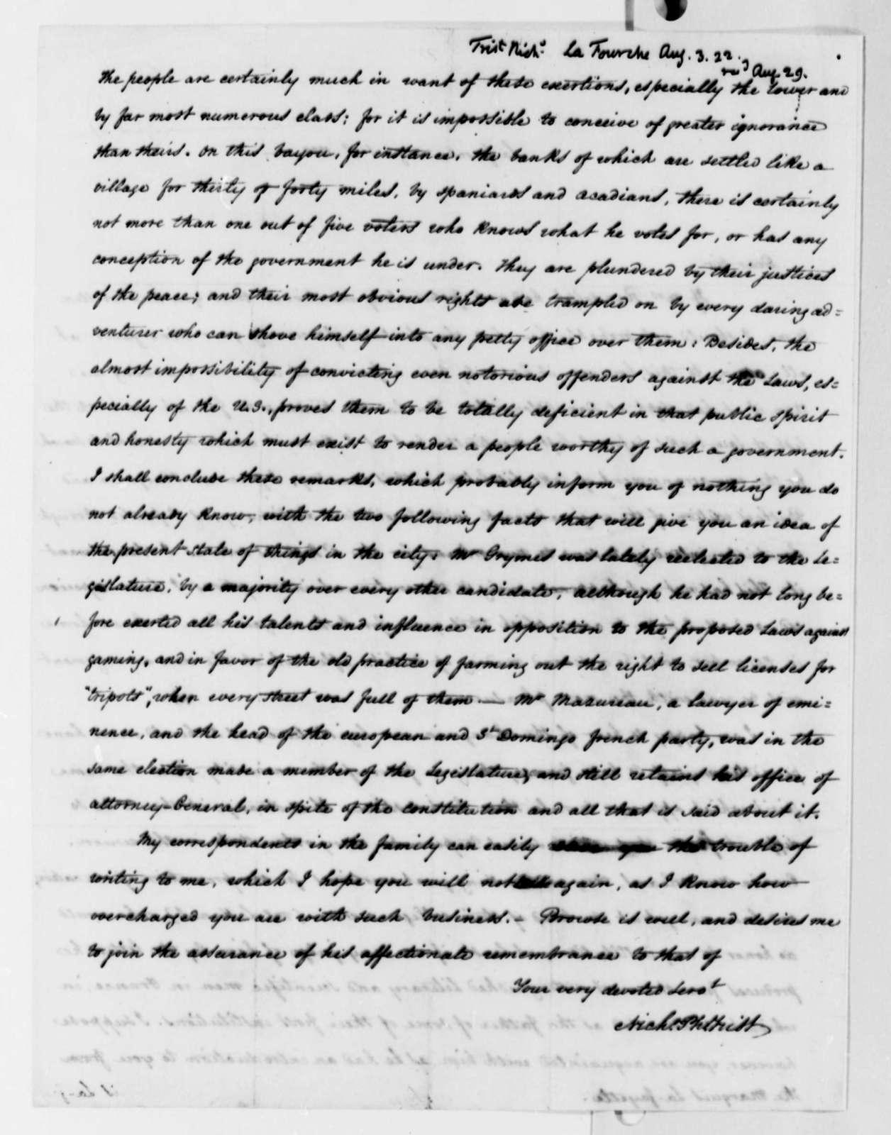 Nicholas P. Trist to Marie Joseph Paul Yves Roch Gilbert du Motier, Marquis de Lafayette, August 3, 1822