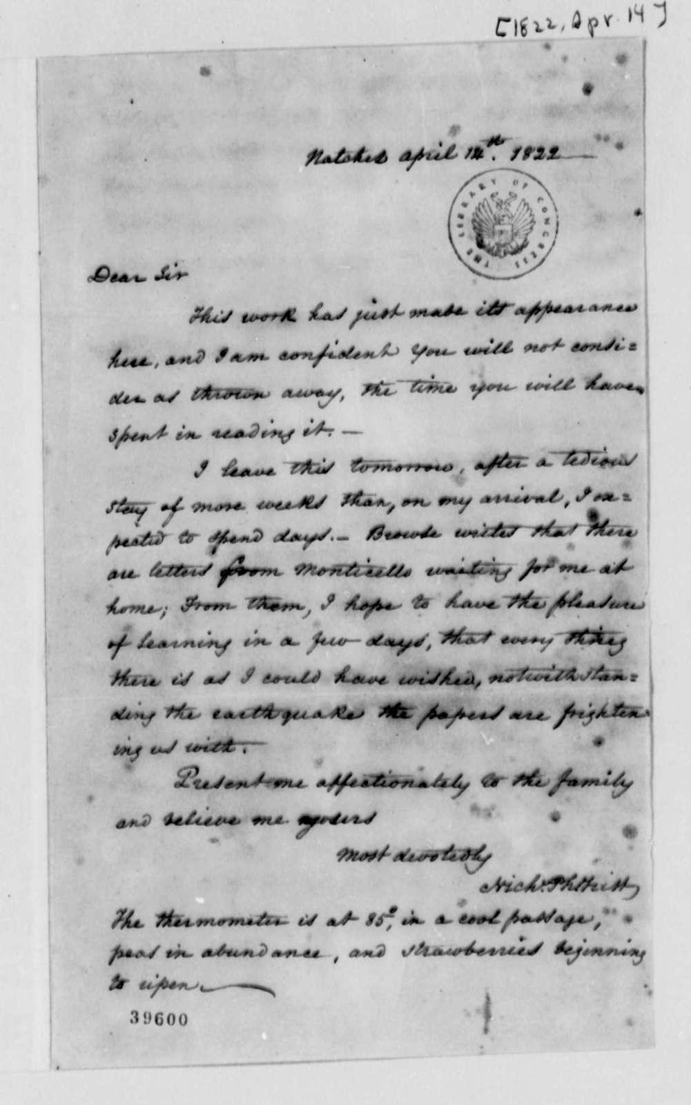 Nicholas P. Trist to Thomas Jefferson, April 14, 1822