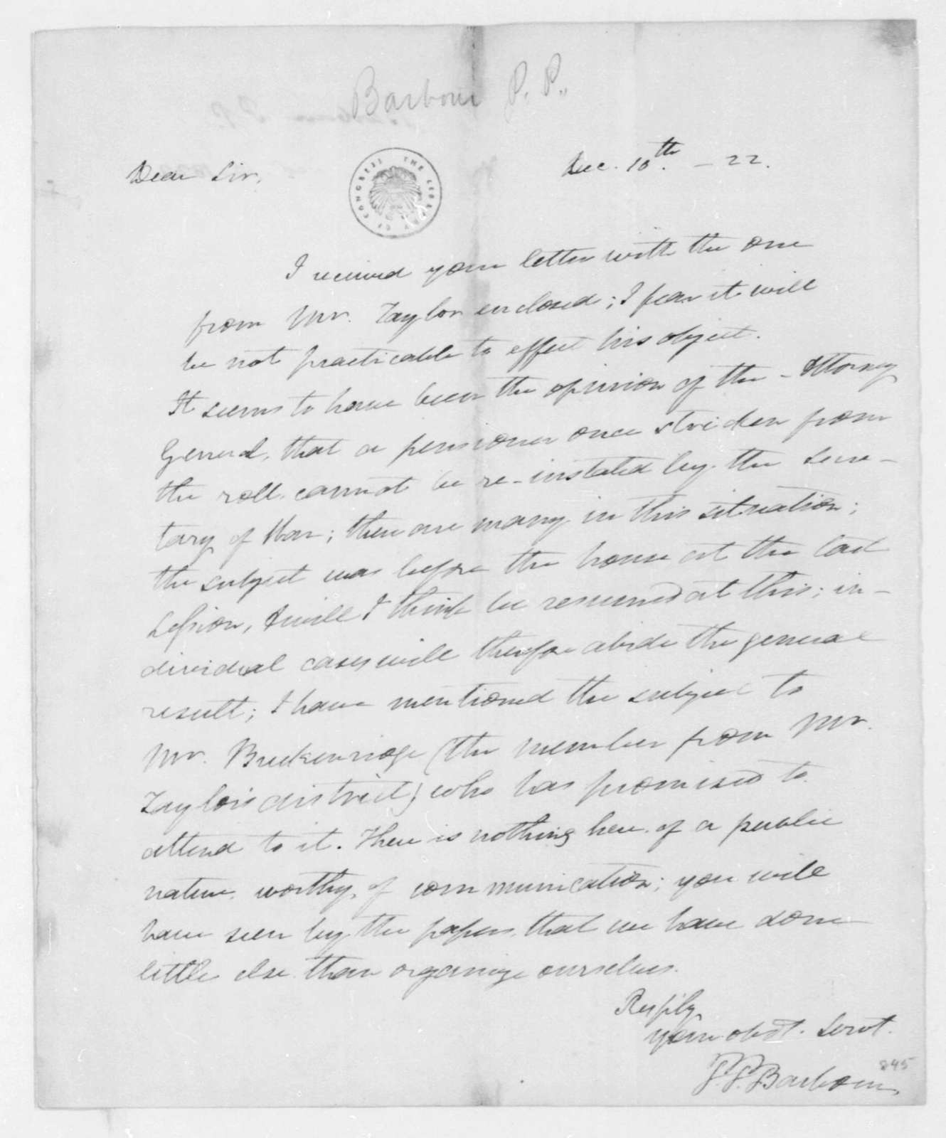 P. P. Barbour to James Madison, December 10, 1822.