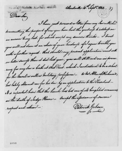 Patrick Gibson to Thomas Jefferson, September 14, 1822